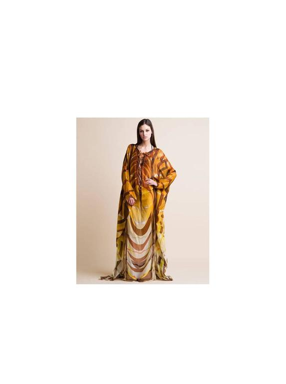 Stunning Emilio Pucci Leather Lace Up Print Maxi Kaftan Dress For Sale 2