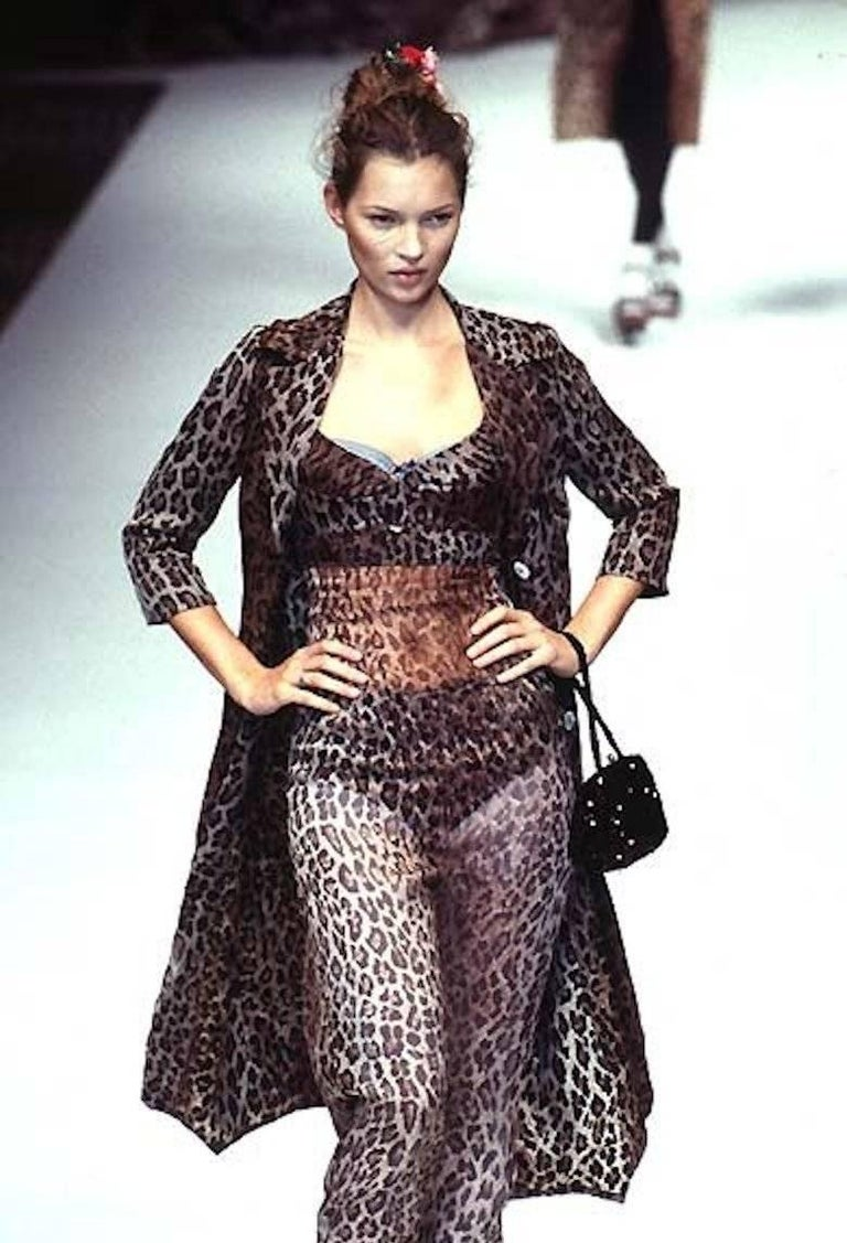 Women's Collectable Dolce & Gabbana Vintage Cheetah Leopard Print Maxi Dress Gown  For Sale