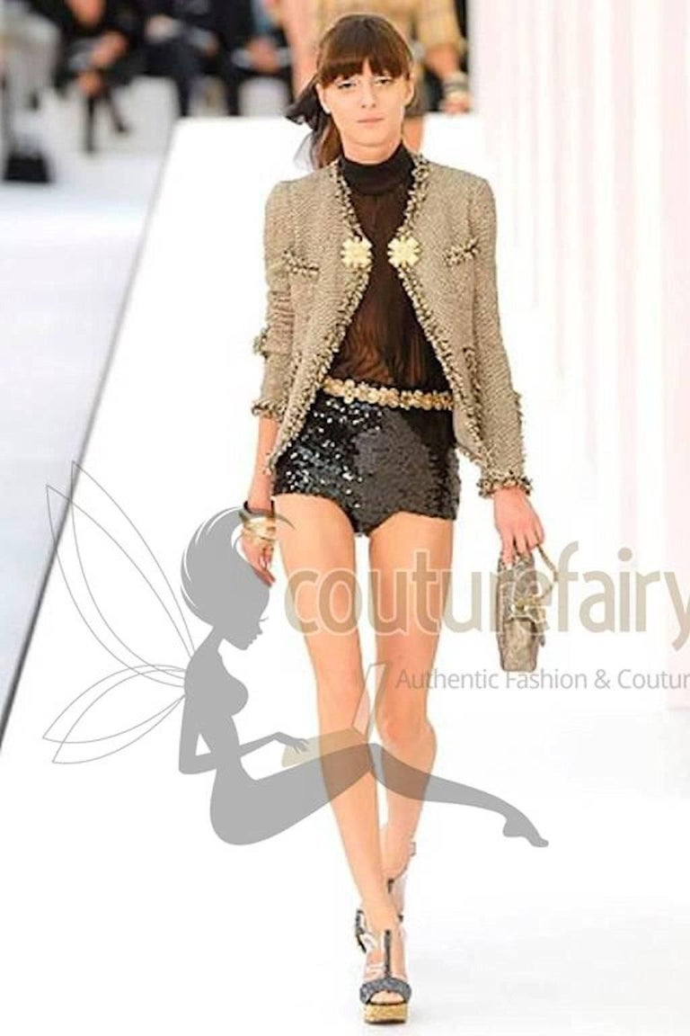 Chanel Black Sequins Hot Pants Shorts For Sale 5