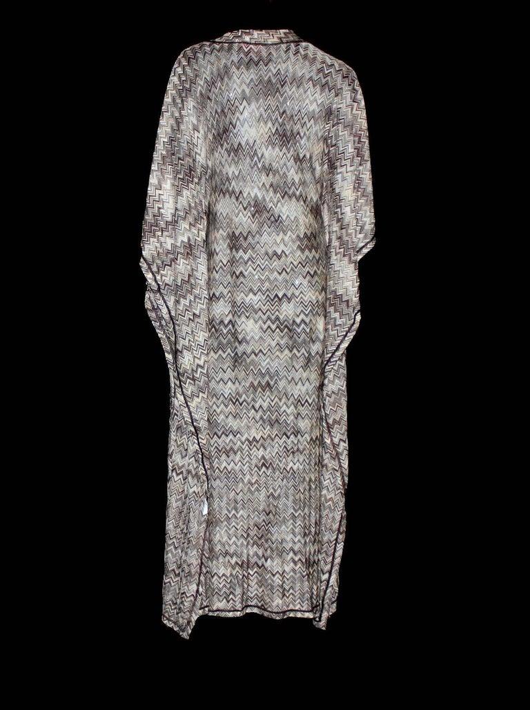 Gray Stunning Missoni Signature Chevron Crochet Knit Maxi Kaftan Dress Bikini Set For Sale
