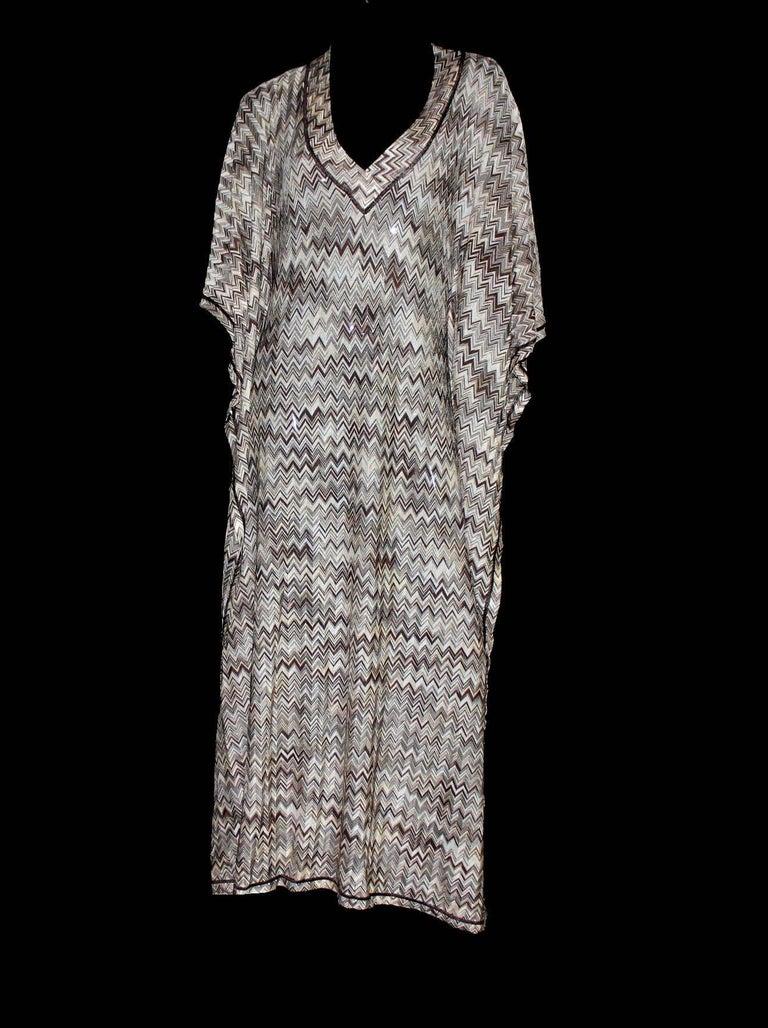 Stunning Missoni Signature Chevron Crochet Knit Maxi Kaftan Dress Bikini Set In New never worn Condition For Sale In Switzerland, CH