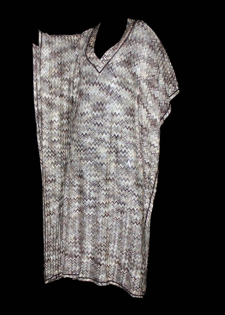 Women's Stunning Missoni Signature Chevron Crochet Knit Maxi Kaftan Dress Bikini Set For Sale