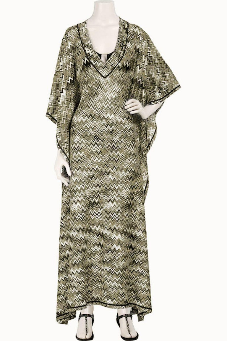Stunning Missoni Signature Chevron Crochet Knit Maxi Kaftan Dress Bikini Set For Sale 4