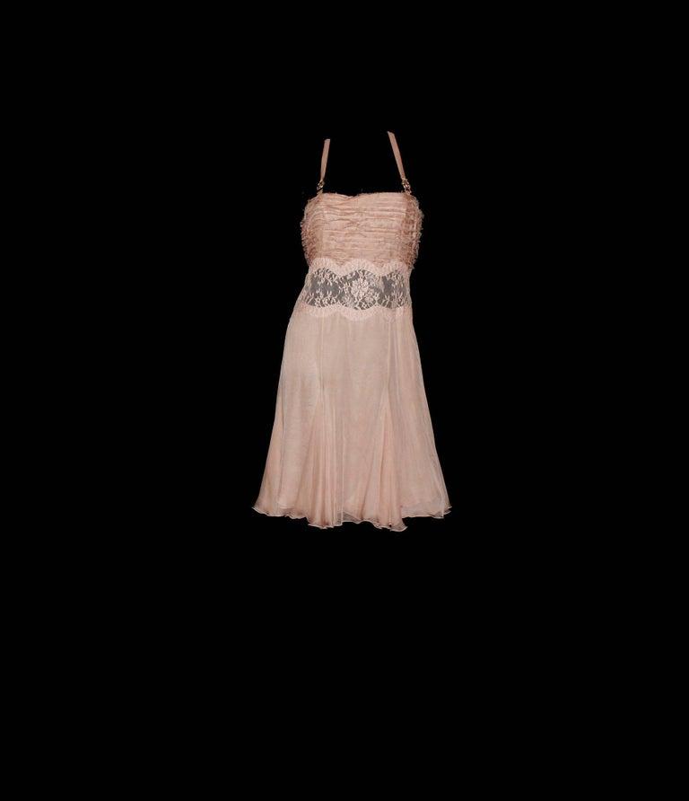 Brown Stunning Versace Blush Nude Medusa Lace & Silk Corset Dress For Sale