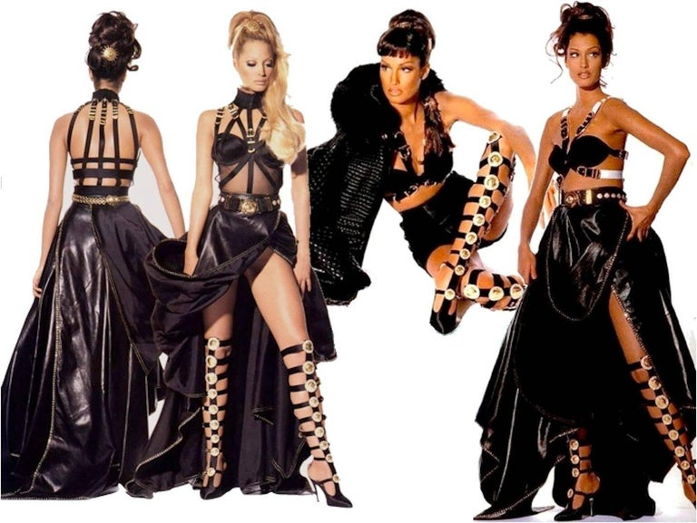 Breathtaking Gianni Versace Couture 1990s Black Bondage Back Evening ...