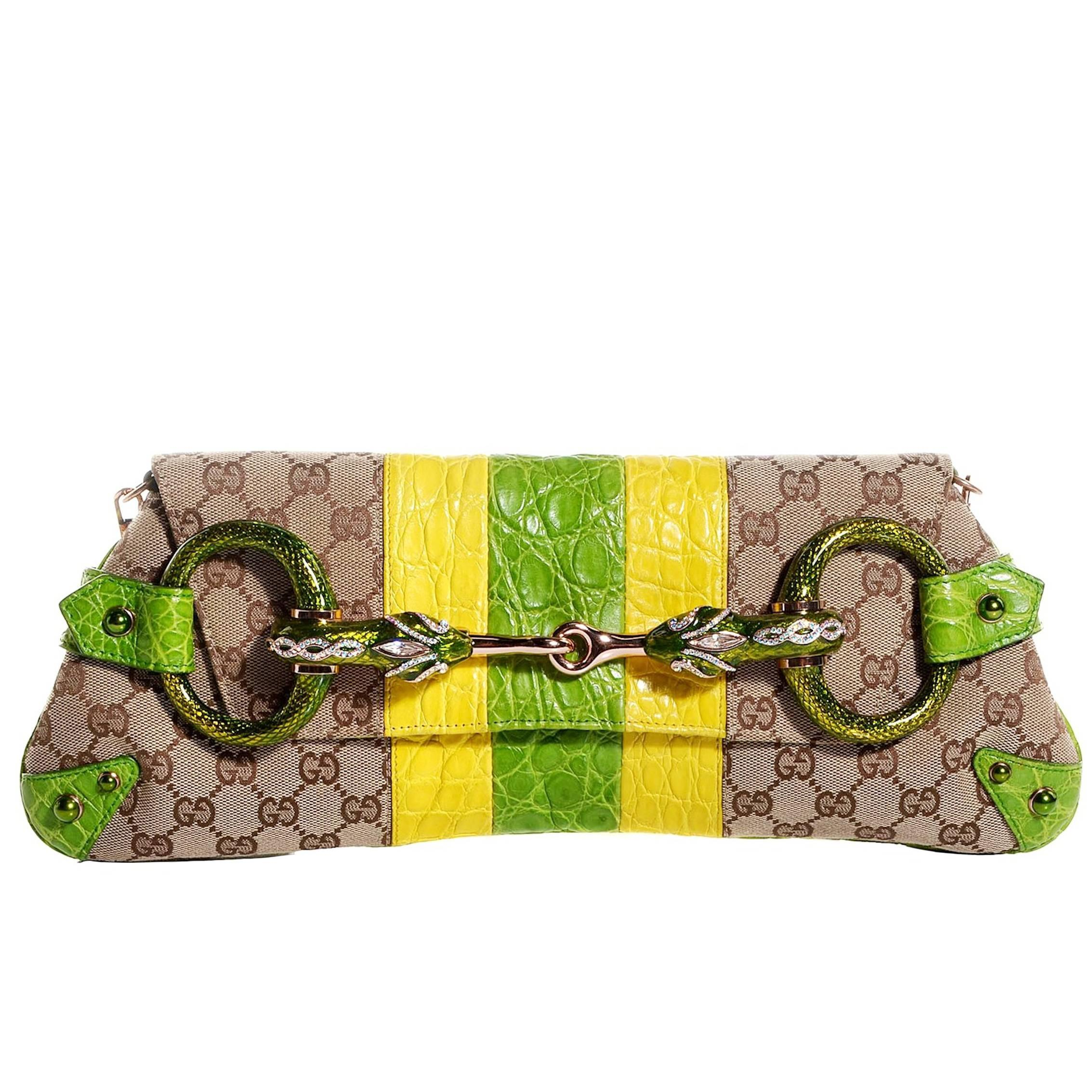 b3672422a9b Gucci Tom Ford SS 2004 Striped Canvas Croc Jeweled Snake XXL Clutch Bag For  Sale at 1stdibs