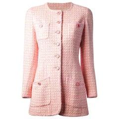 Iconic Chanel Pink Lesage Tweed CC Logo Button Jacket