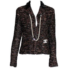 Amazing Chanel Metallic Tweed Sequin Trimmed Jacket Blazer