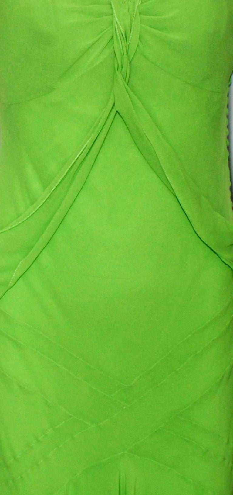UNWORN Christian Dior by John Galliano Green Draped Silk Chiffon Dress Gown In Good Condition For Sale In Switzerland, CH