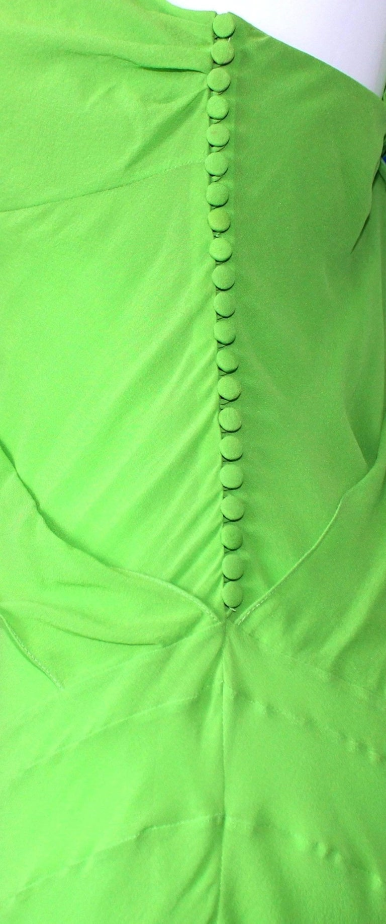 Women's UNWORN Christian Dior by John Galliano Green Draped Silk Chiffon Dress Gown For Sale