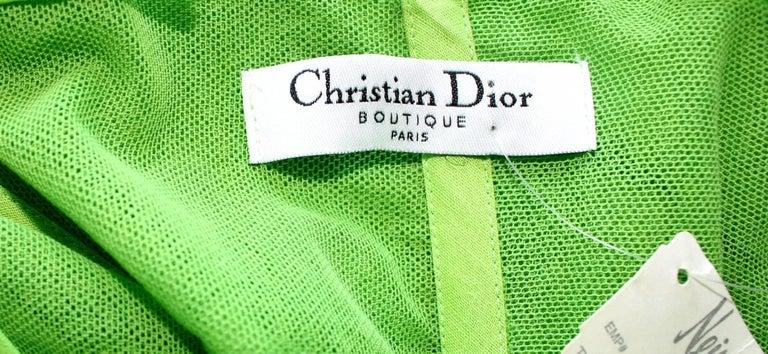 UNWORN Christian Dior by John Galliano Green Draped Silk Chiffon Dress Gown For Sale 1