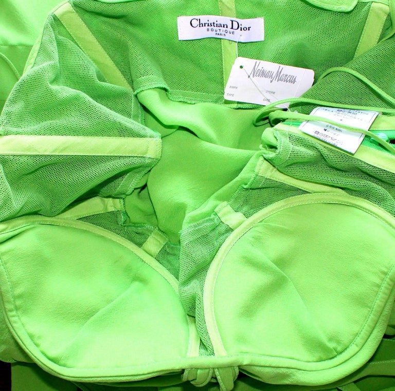 UNWORN Christian Dior by John Galliano Green Draped Silk Chiffon Dress Gown For Sale 3