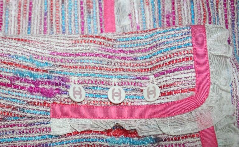 Chanel 3 Piece Lesage Tweed Multicolor Top Skirt Jacket Suit Ensemble For Sale 2