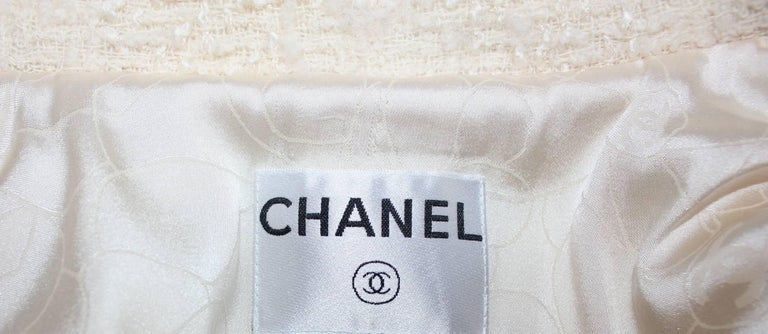 Beige Chanel Signature Boucle Faux Wrap Skirt  For Sale
