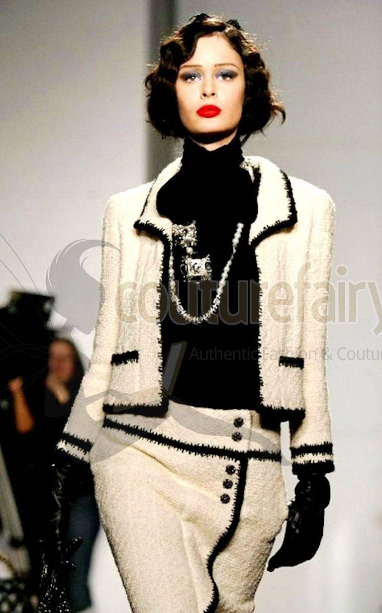Chanel Signature Boucle Faux Wrap Skirt  For Sale 1