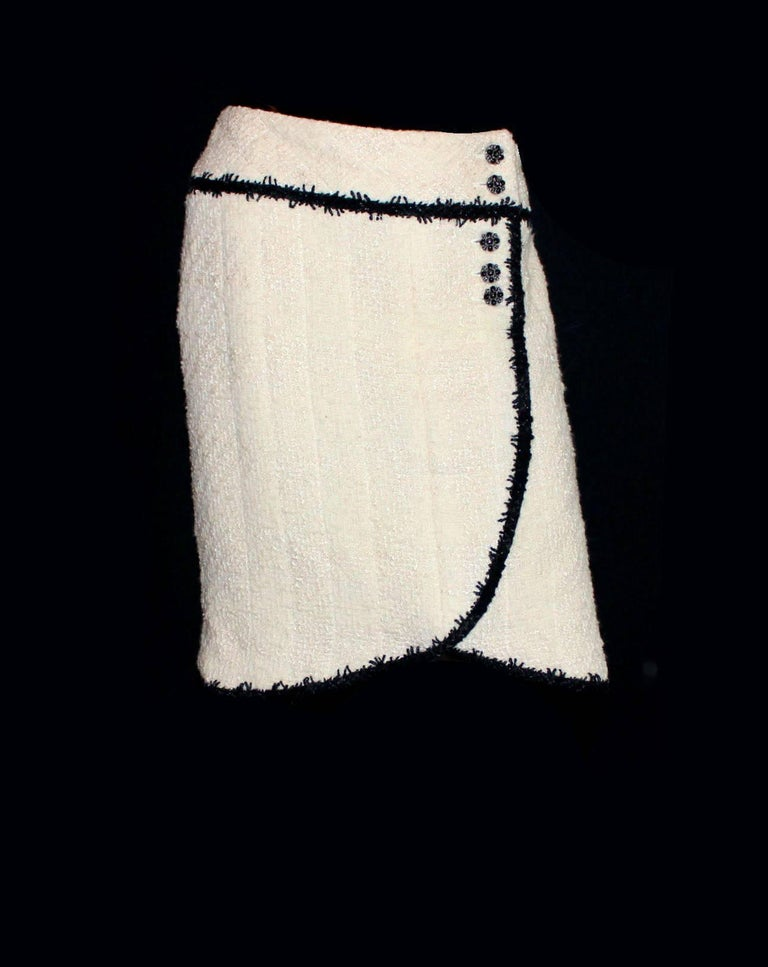 Chanel Signature Boucle Faux Wrap Skirt  In Excellent Condition For Sale In Switzerland, CH