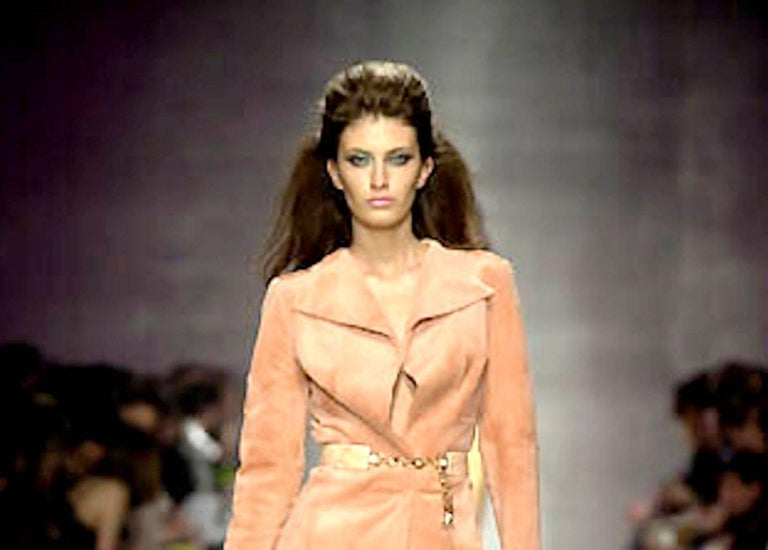 Stunning Gianni Versace Couture Blush Pink Nude Fur Jacket  For Sale 1