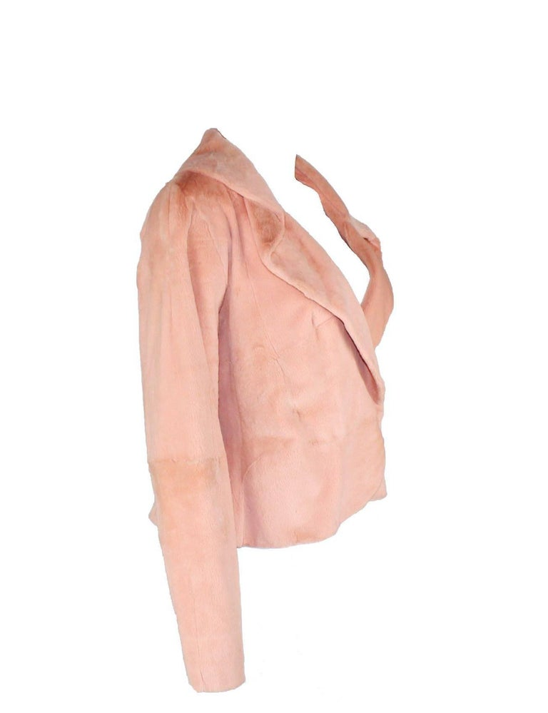 A great piece  by GIANNI VERSACE COUTURE From the famous 2000 collection This gorgeous jacket is made out of finest nude-colored fur Softest, lightweight fur Very versatile Fully lined Closes in front with two hidden clasps Made in Italy
