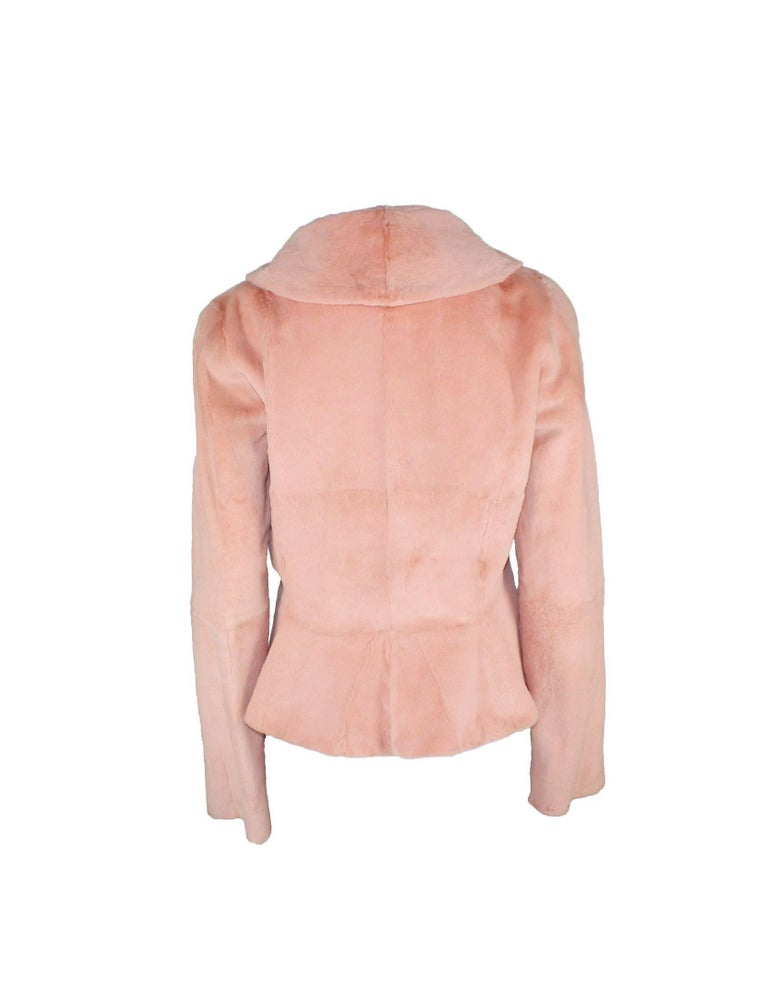 Black Stunning Gianni Versace Couture Blush Pink Nude Fur Jacket  For Sale