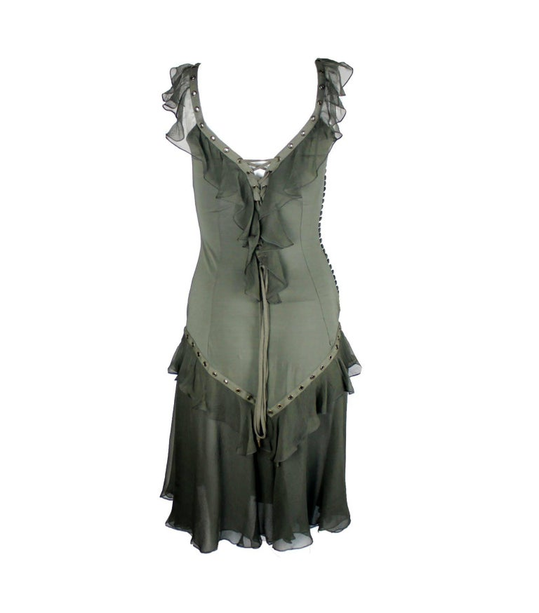 Gray NEW Christian Dior by John Galliano Deep Cleavage Laceup Silk Dress For Sale