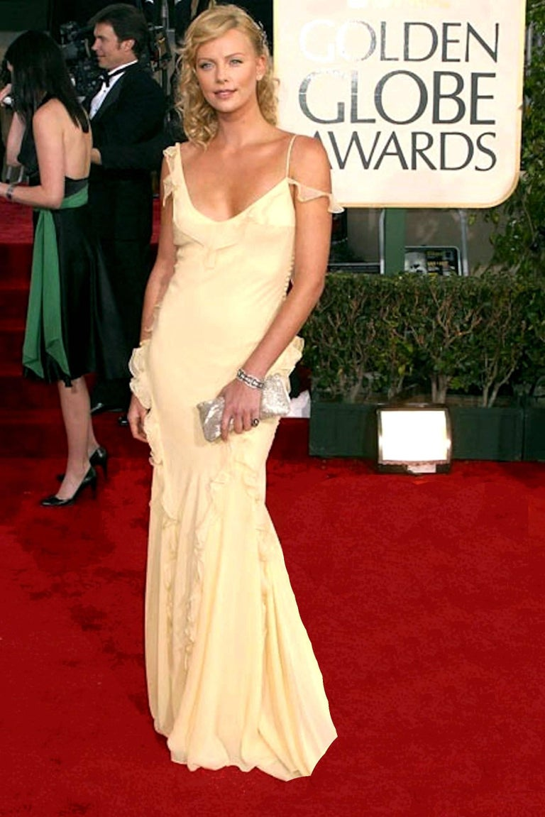 Charlize's Christian Dior by John Galliano Silk Ombre Evening Gown with Ruches For Sale 2
