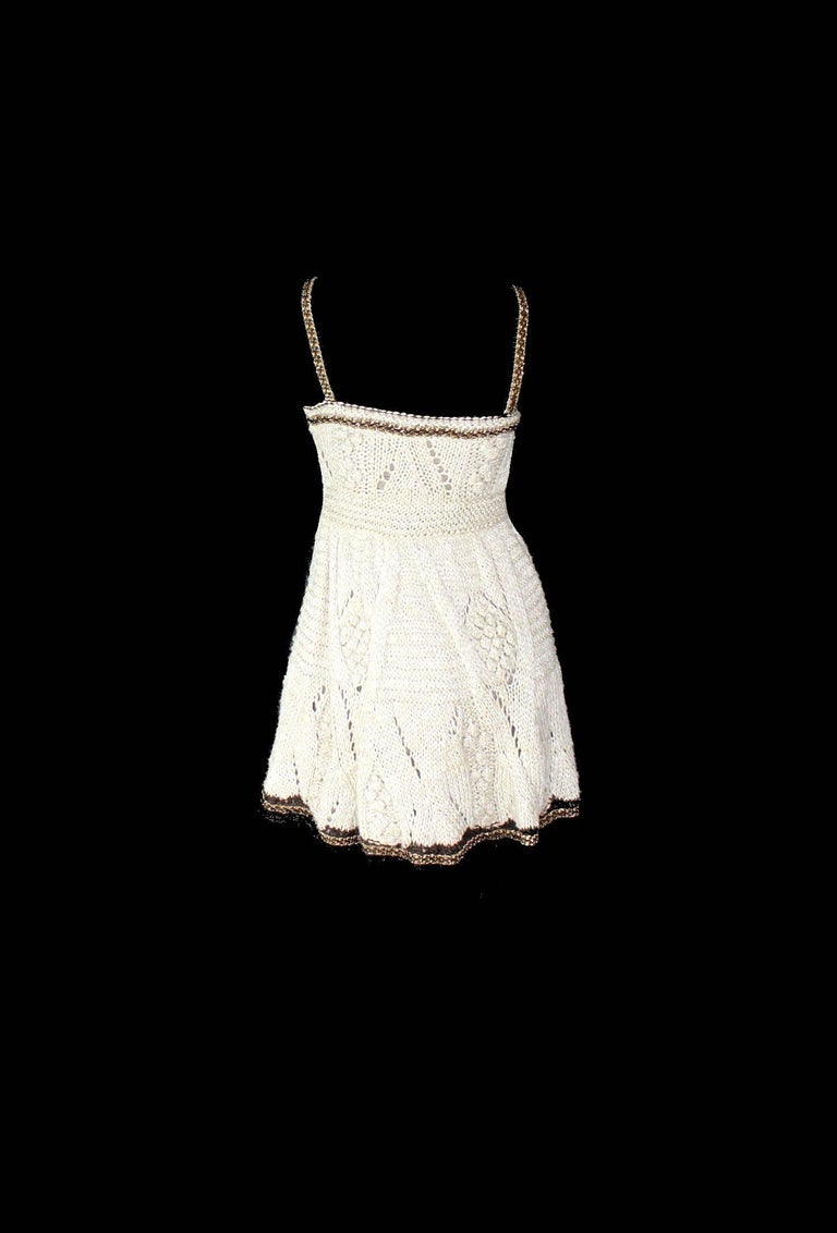 Amazing Chanel Signature Crochet Knit Dress with Chain Leather Details 4