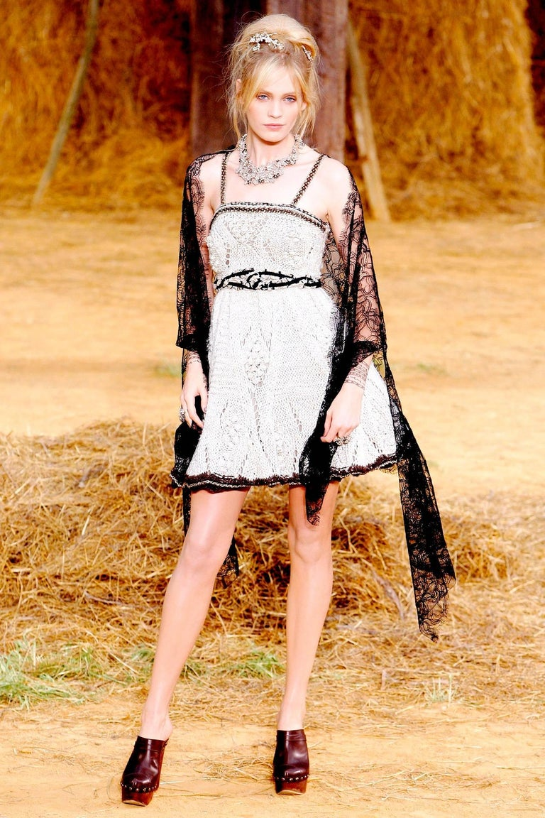 Amazing Chanel Signature Crochet Knit Dress with Chain Leather Details 9