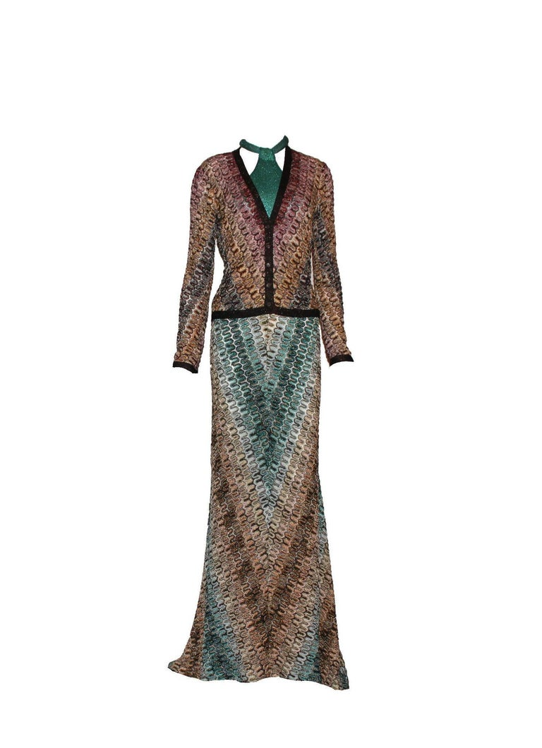 Gorgeous Missoni Metallic Lurex Crochet Knit Evening Dress Gown with Cardigan In New Condition For Sale In Switzerland, CH