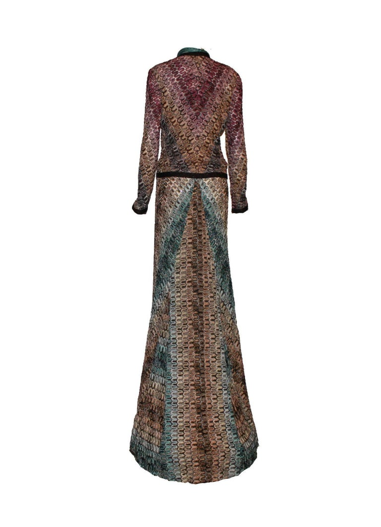 Women's Gorgeous Missoni Metallic Lurex Crochet Knit Evening Dress Gown with Cardigan For Sale
