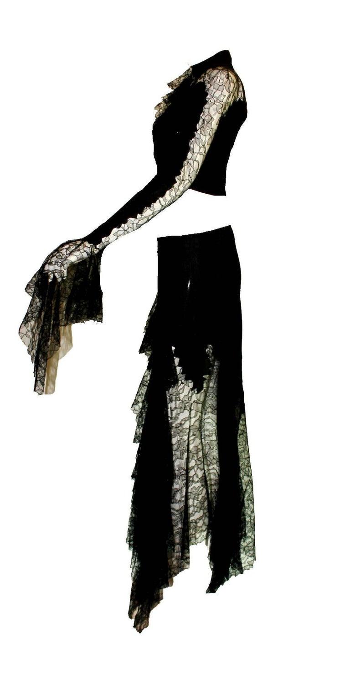 Breathtaking Gianni Versace Couture 1990s Black Silk & Lace Ensemble  4