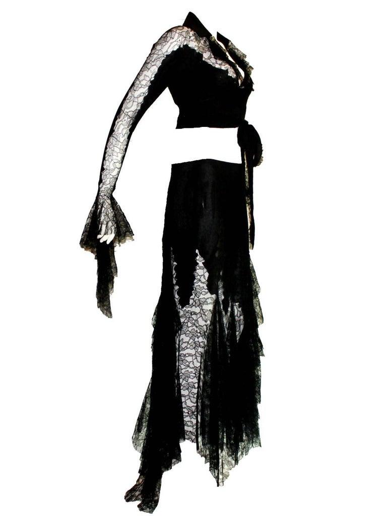 Breathtaking Gianni Versace Couture 1990s Black Silk & Lace Ensemble  2