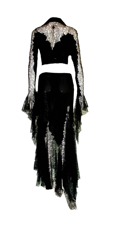 Breathtaking Gianni Versace Couture 1990s Black Silk & Lace Ensemble  3