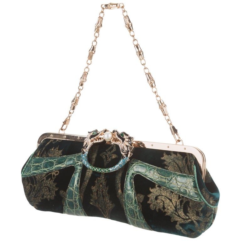 Exotic Gucci by Tom Ford 2004 Bamboo Velvet Dragon Encrusted Crystal Bag Clutch For Sale