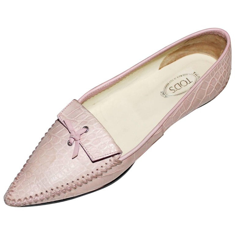 TOD'S Exotic Crocodile Skin Pink Hand-sewn Moccassins Loafers Slippers