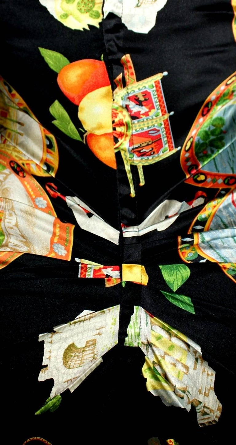 Dolce & Gabbana Taormina Sicily Print Corset Silk Gown Dress In Excellent Condition For Sale In Switzerland, CH