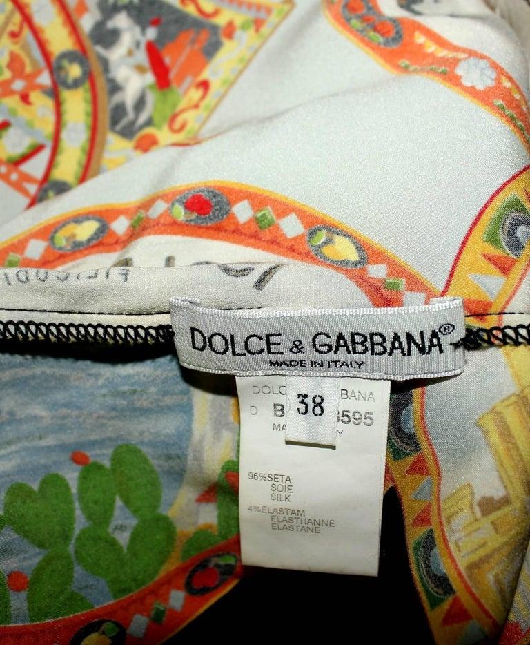 Dolce & Gabbana Taormina Sicily Print Corset Silk Gown Dress For Sale 3