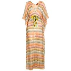 Missoni Gold Metallic Crochet Maxi Knit Kaftan Tunic Dress