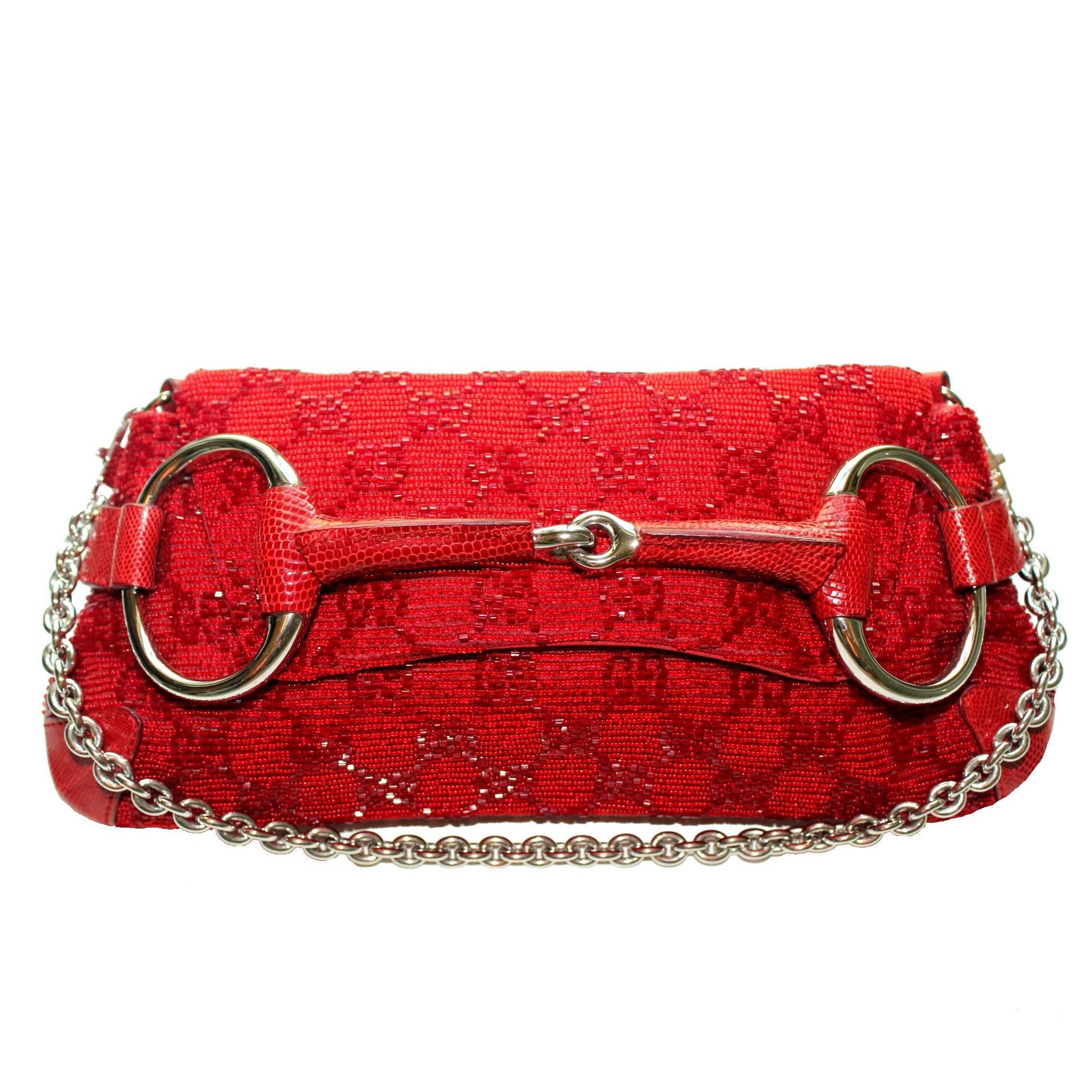 Gucci Gg Monogram Beaded Crystal And Lizard Skin Horsebit Bag Clutch YtOL5fJMP
