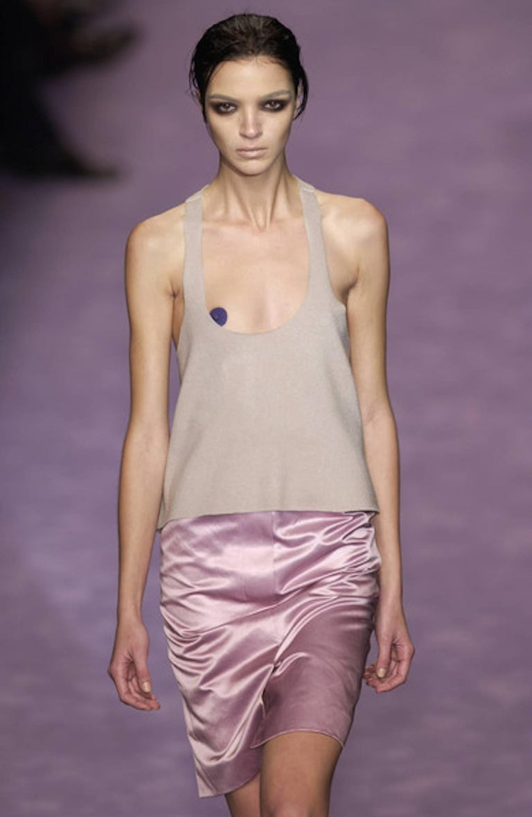 Yves Saint Laurent Rive Gauche by Tom Ford SS 2003 Pink Derriere Skirt For Sale 4