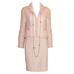 Iconic Chanel Pink Pastels Tweed Skirt Suit - Museum Piece From 1994 Collection