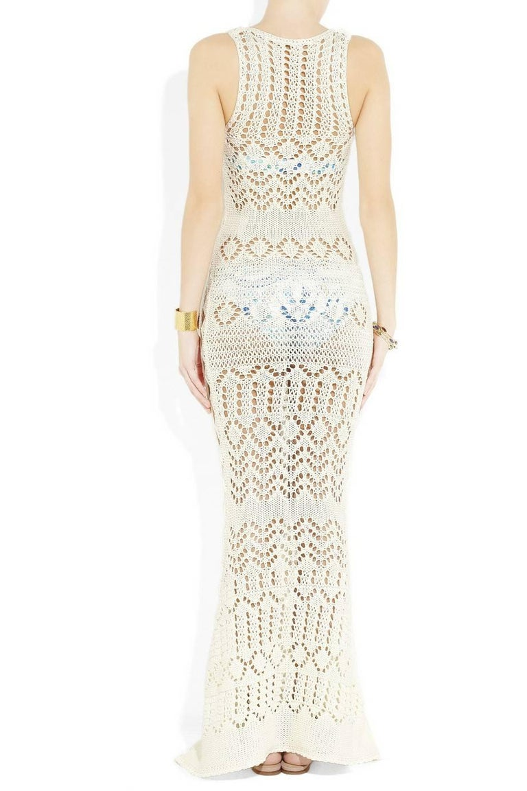 NEW Emilio Pucci by Peter Dundas Studded Ivory Crochet Knit Maxi Dress Gown In New Condition For Sale In Switzerland, CH