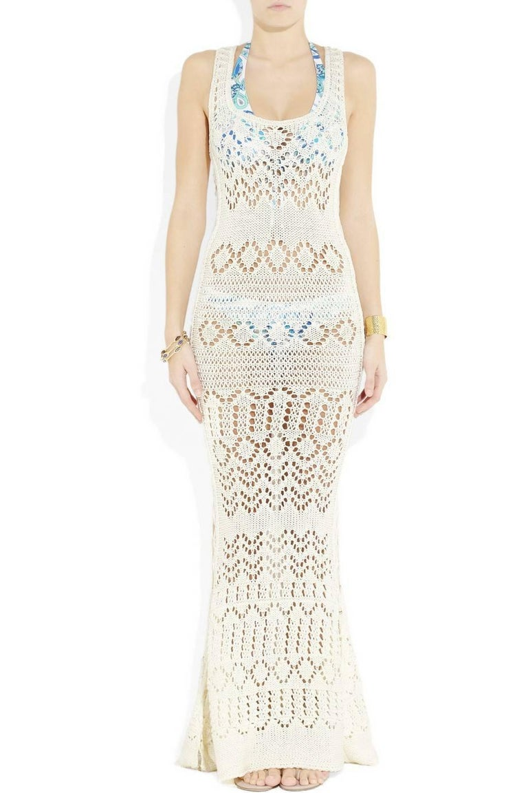 Beige NEW Emilio Pucci by Peter Dundas Studded Ivory Crochet Knit Maxi Dress Gown For Sale