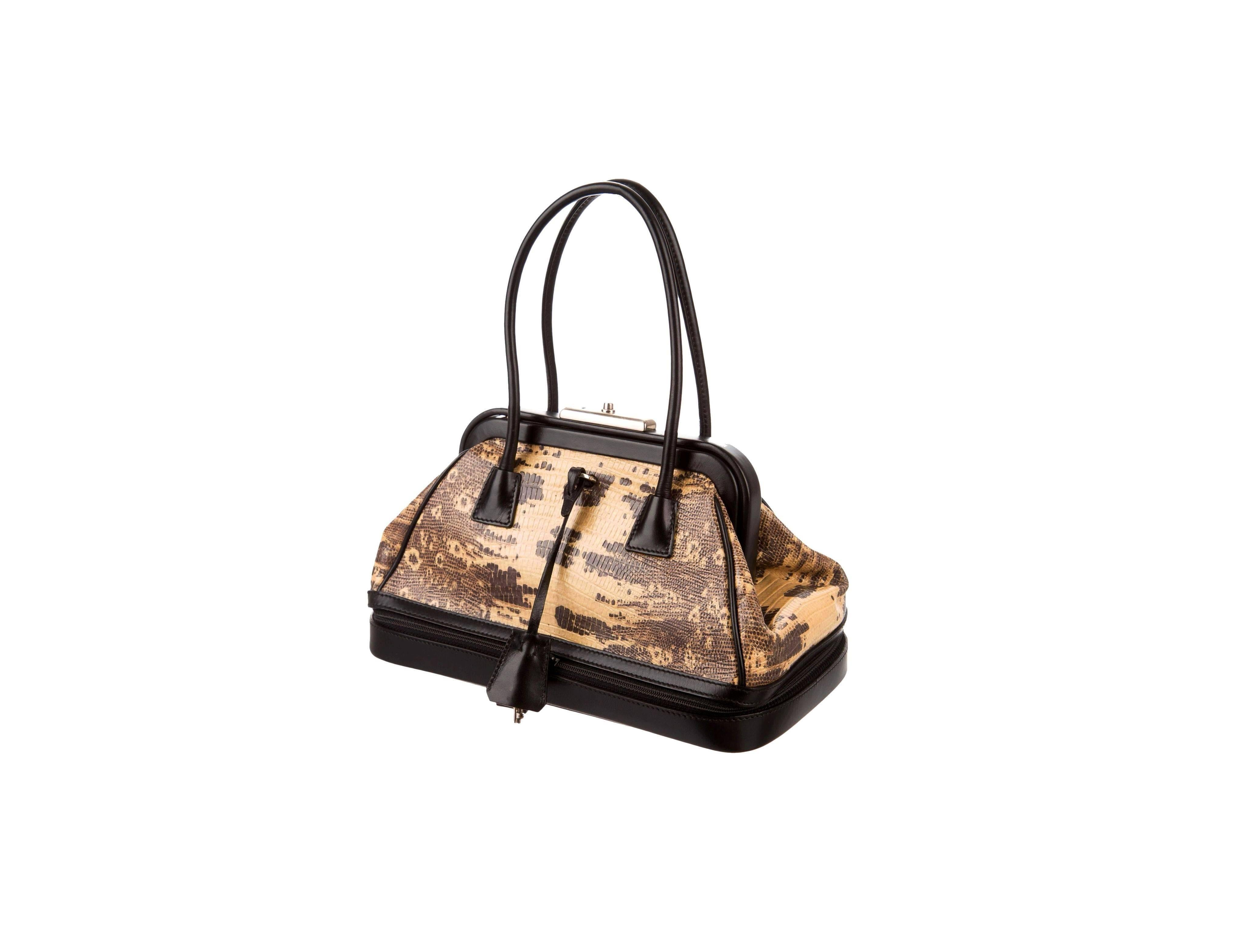 Prada Exotic Doctor Frame Bag Purse With Extra Compartment And Lock & Keys KWZEDoLE