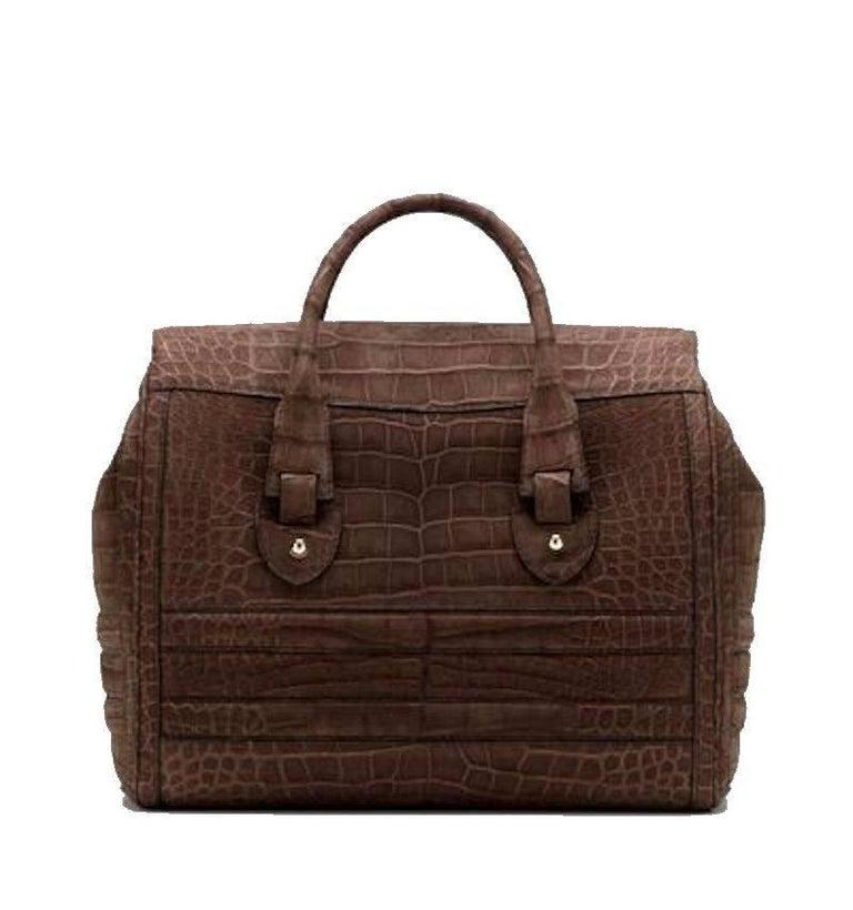 Black Gucci Matte Brown Crocodile XL Weekender Top Handle Bag For Sale