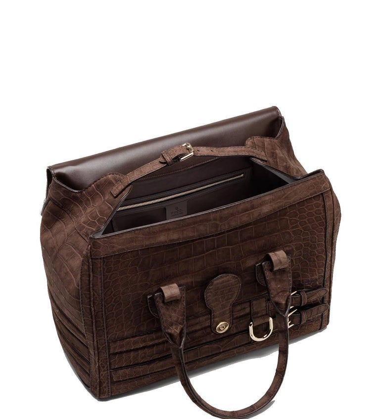 Women's or Men's Gucci Matte Brown Crocodile XL Weekender Top Handle Bag For Sale