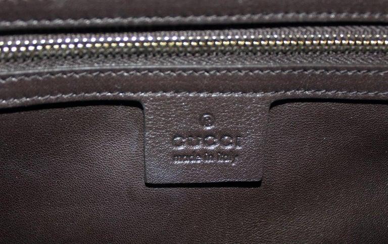 Gucci Matte Brown Crocodile XL Weekender Top Handle Bag For Sale 7