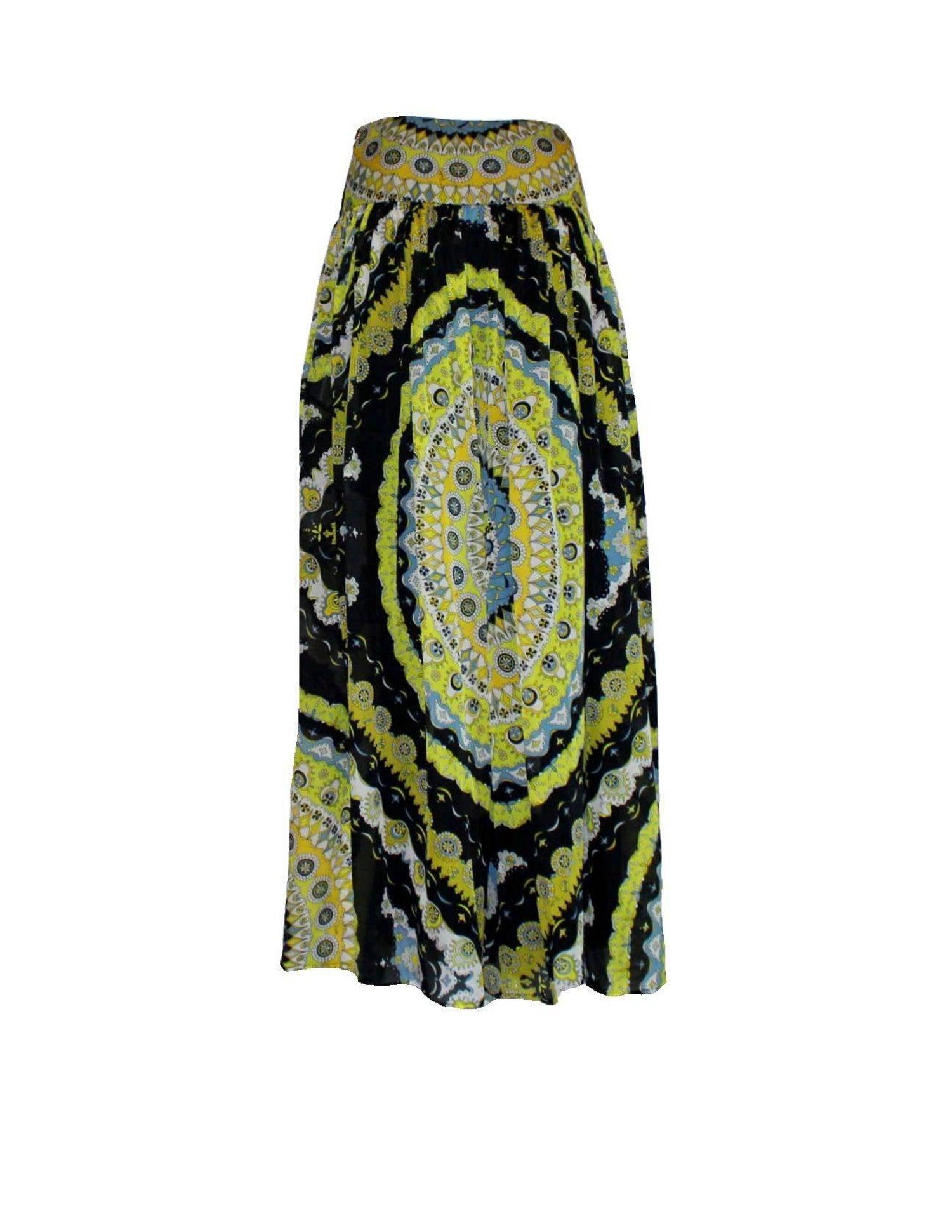 965f57190445 Emilio Pucci Signature Print Silk Maxi Gypsy Skirt For Sale at 1stdibs