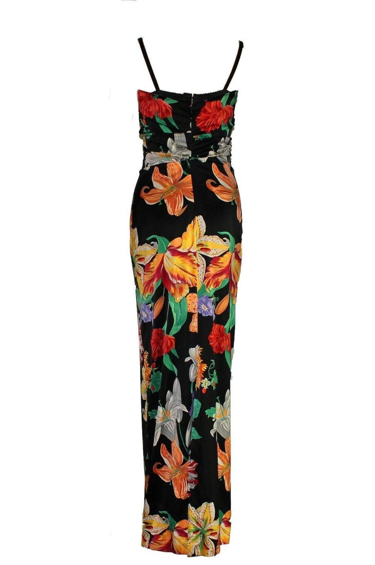 Black Carries SATC 1990s Dolce & Gabbana Hand-Painted Floral Corset Evening Dress Gown For Sale