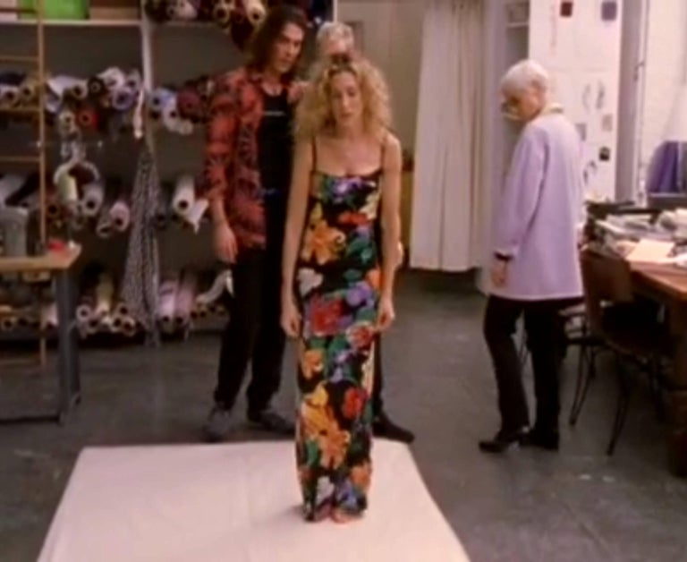 Carries SATC 1990s Dolce & Gabbana Hand-Painted Floral Corset Evening Dress Gown For Sale 4