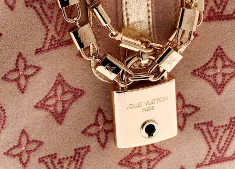 Women's or Men's Rare Louis Vuitton Extraordinaire Suede Crystals Logo Purse Handbag For Sale